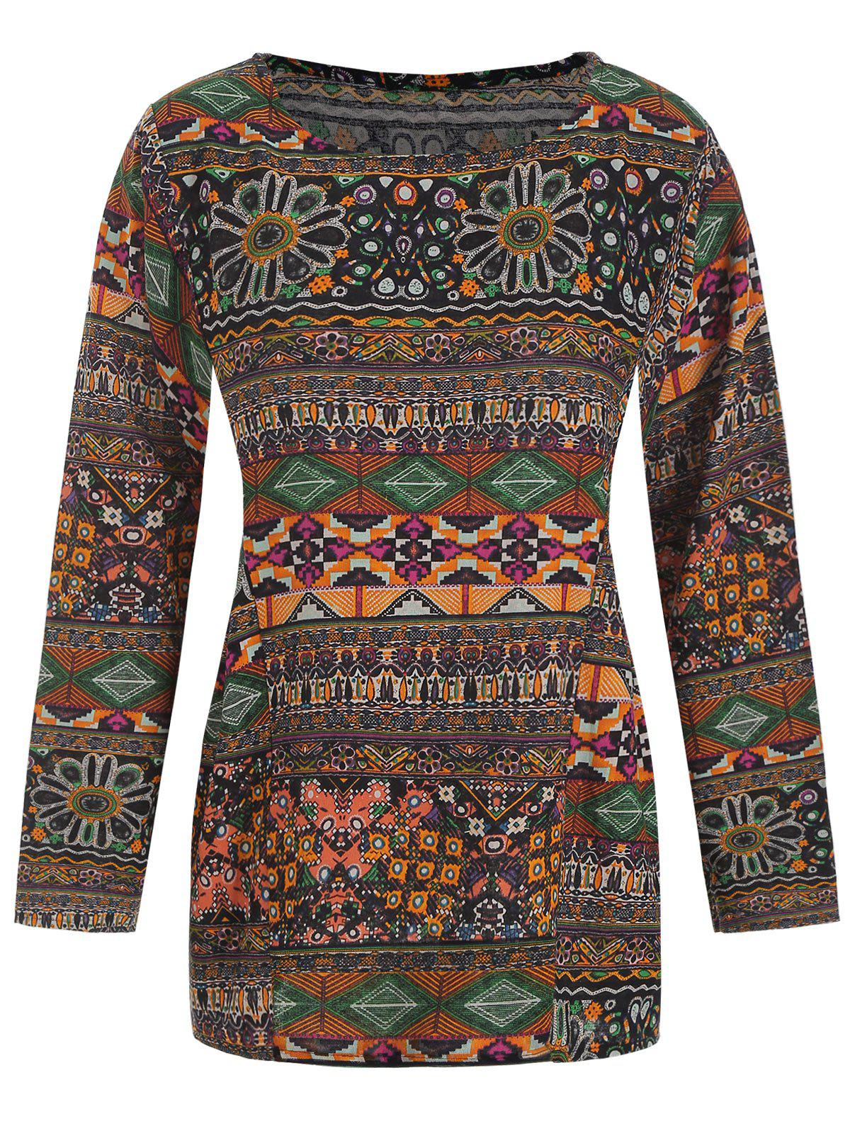 Long Sleeves Tribal Print Loose Blouse - multicolor A XL