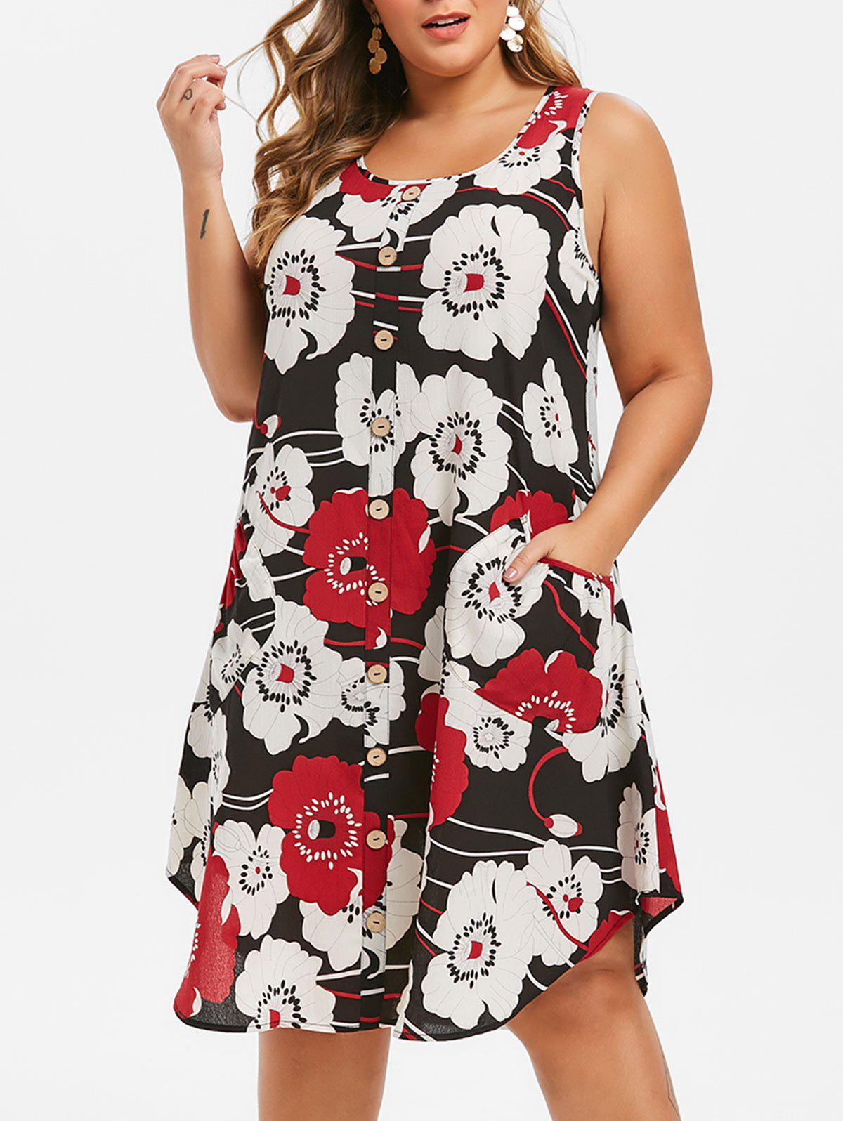 Plus Size Buttons Floral Print Trapeze Dress - BLACK 3X