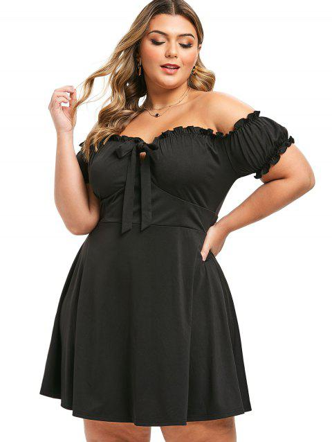 Plus Size Off The Shoulder Ruffled Front Tie Dress