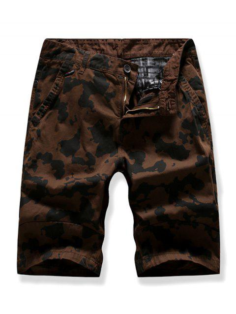 Zipper Fly Camouflage Printed Cargo Shorts - COFFEE 38
