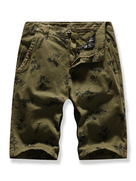Trees Pattern Zipper Fly Cargo Shorts - CAMOUFLAGE GREEN 38