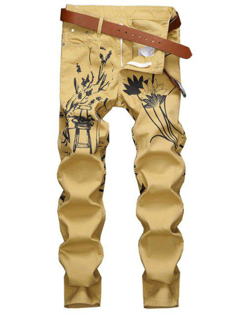 Lotus Print Zip Fly Casual Jeans - GOLDENROD 42
