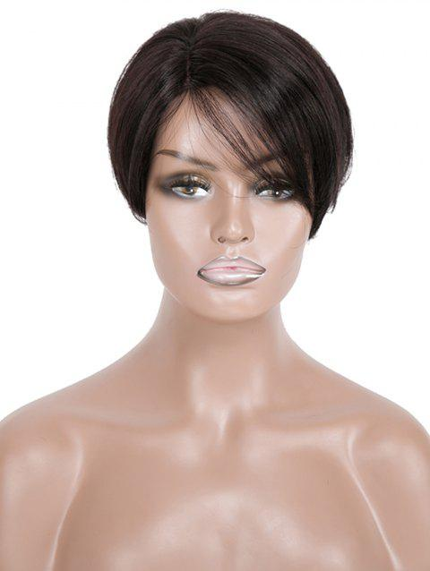 Short Side Part Straight Human Hair Wig - NATURAL BLACK