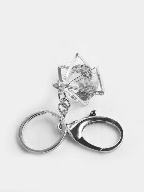 Square Faux Crystal Pendant Key Chain - SILVER