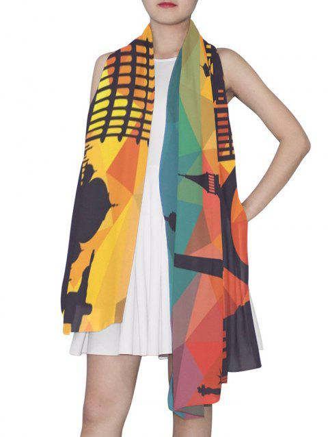 Geometric Architecture Printed Long Scarf - multicolor 90*180CM