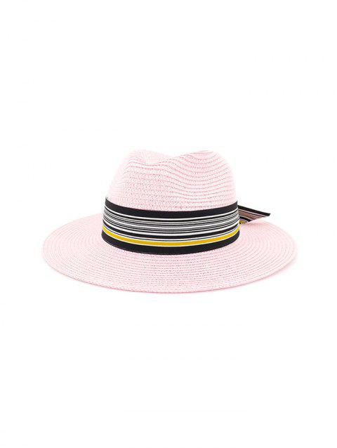 Printed Striped Knot Straw Hat - HOT PINK