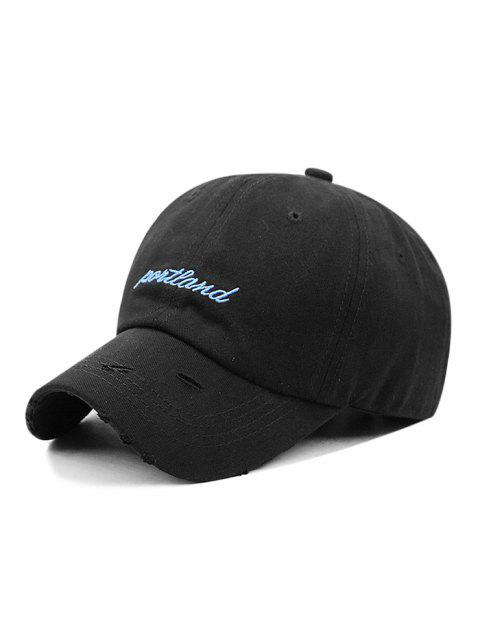 Adjustable Letter Embroidered Ripped Baseball Hat - BLACK