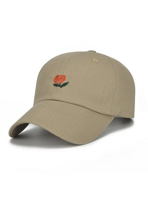 Rose Flower and Letters Embroidered Baseball Hat - KHAKI