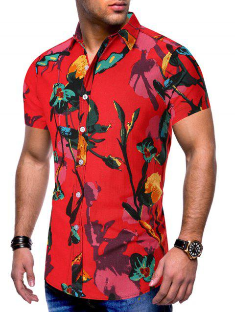 Floral Printed Leisure Style Short Sleeves Shirt - RED 3XL