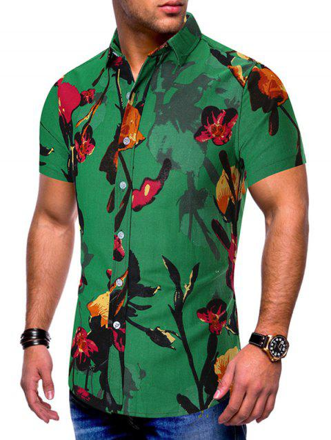 Floral Pattern Casual Style Short Sleeves Shirt - GREEN 3XL
