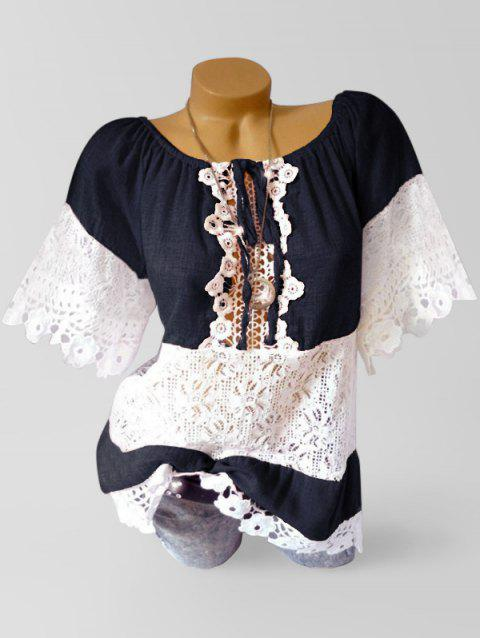 Lace Applique Panel See Through Patch Blouse - DEEP BLUE 3XL