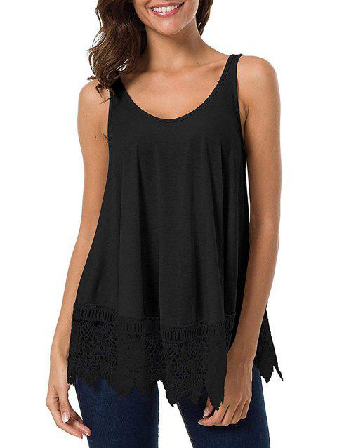 4351ab5c156 41% OFF] 2019 Guipure Lace Panel Scoop Neck Tunic Tank Top In BLACK ...
