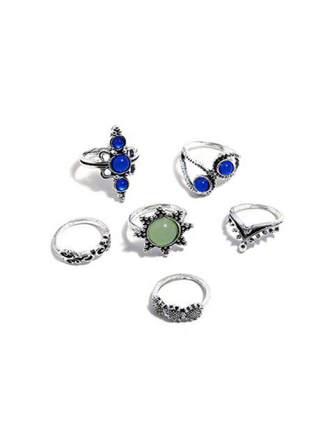 6Pcs Faux Crystal Sunflower Ring Set - SILVER