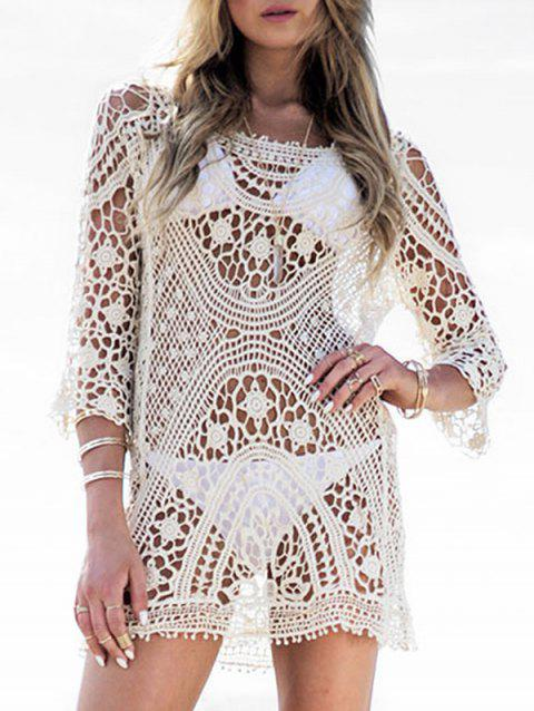 Crochet Longline Beach Cover Up - WHITE ONE SIZE
