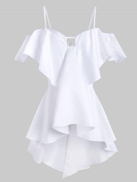 Back Zipper Solid High Low Cami Blouse - WHITE XL