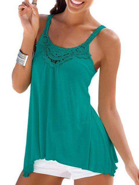 Round Neck Guipure Lace Panel Tunic Tank Top - DARK TURQUOISE L