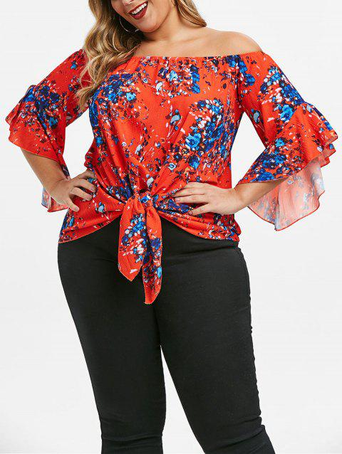 Printed Tie Plus Size Off The Shoulder Top - multicolor B 1X