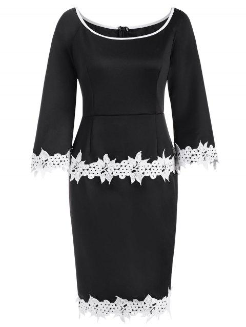 Scoop Neck Lace Trim Sheath Dress - BLACK 2XL