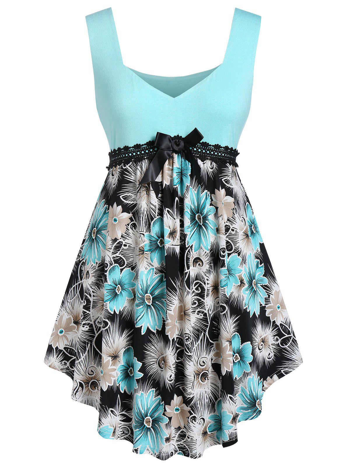 Plus Size Sweetheart Neck Floral Print Curved Tank Top - LIGHT AQUAMARINE 1X