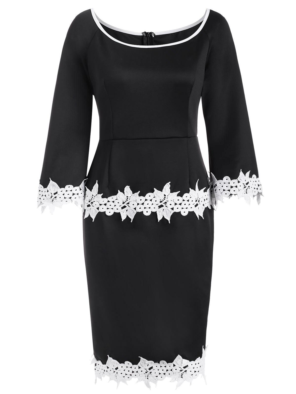 Scoop Neck Lace Trim Sheath Dress - BLACK XL