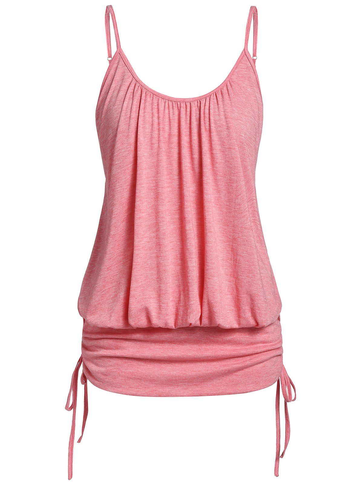 Plus Size Marled Spaghetti Strap Cinched Tank Top - FLAMINGO PINK 4X