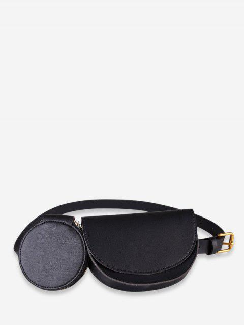 Double Bag Design Fanny Pack - BLACK