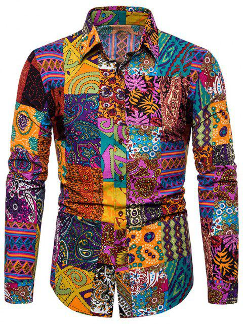 Ethnic Floral Print Long Sleeves Shirt - multicolor A XL