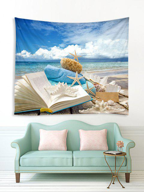 Beach Book Starfish Print Tapestry Wall Hanging Art Decoration - multicolor A W59 X L51 INCH