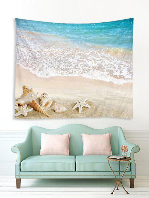 Tapisserie murale 3D Sea Beach Starfish Shell avec impression - multicolor A W59 X L51 INCH