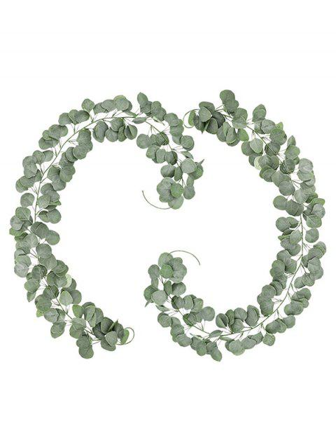 6.5 FT Fuax Eucalyptus Garland Greenery Garland Home Decor Backdrop Spring Fake Leaves Vine Garland Silver Dollar Hanging Artificial Flowers Backdrop For Wedding Table Wall , 2 Pack - GREEN