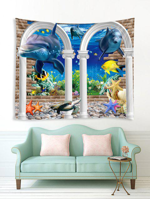 Underwater Arch Dolphin Print Tapestry Wall Hanging Art Decoration - multicolor C W59 X L51 INCH