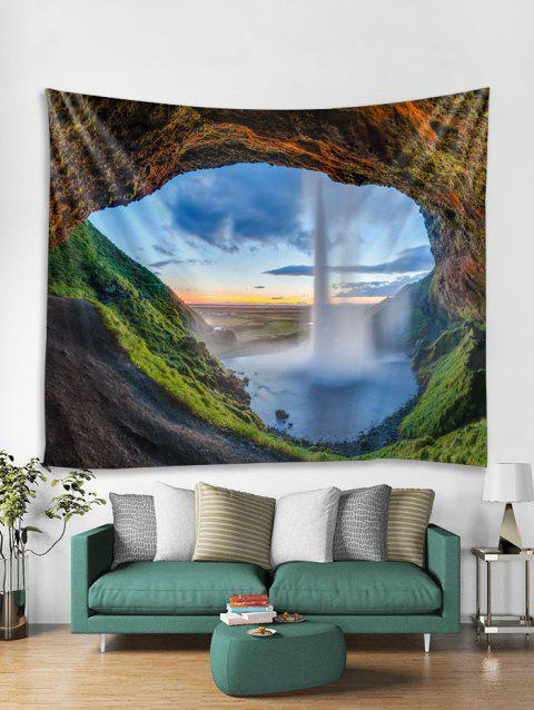 3D Waterfall Cave Pattern Tapestry - multicolor I W59 X L51 INCH