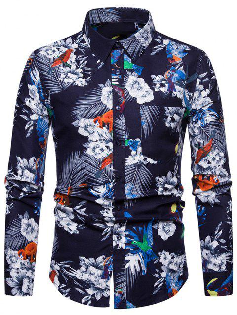 Flower Print Casual Style Long Sleeves Shirt - MIDNIGHT BLUE 2XL