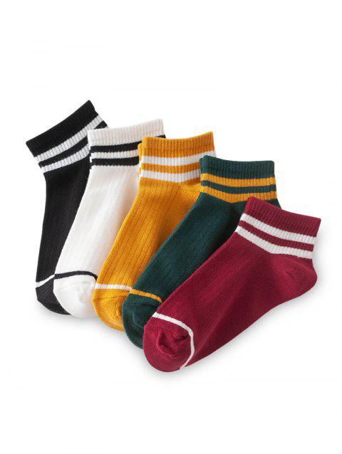 Striped Breathable Sport Ankle Socks - multicolor A