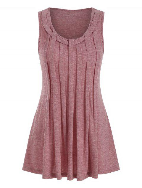 Crinkle Pleated Tank Top - CHERRY RED M
