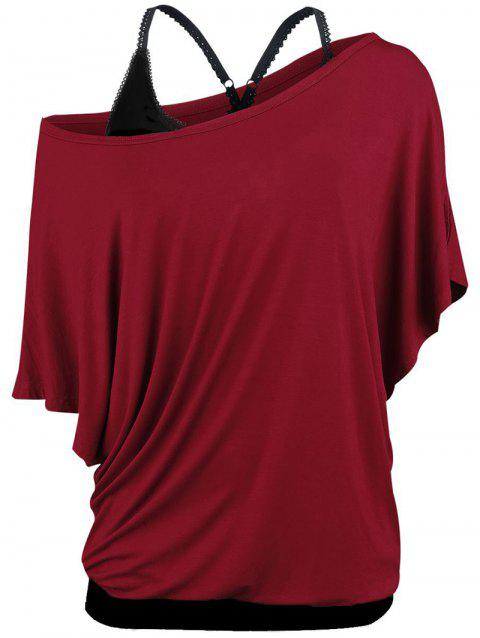Plus Size Skew Neck T-shirt and Cami Top Set - RED WINE 5X