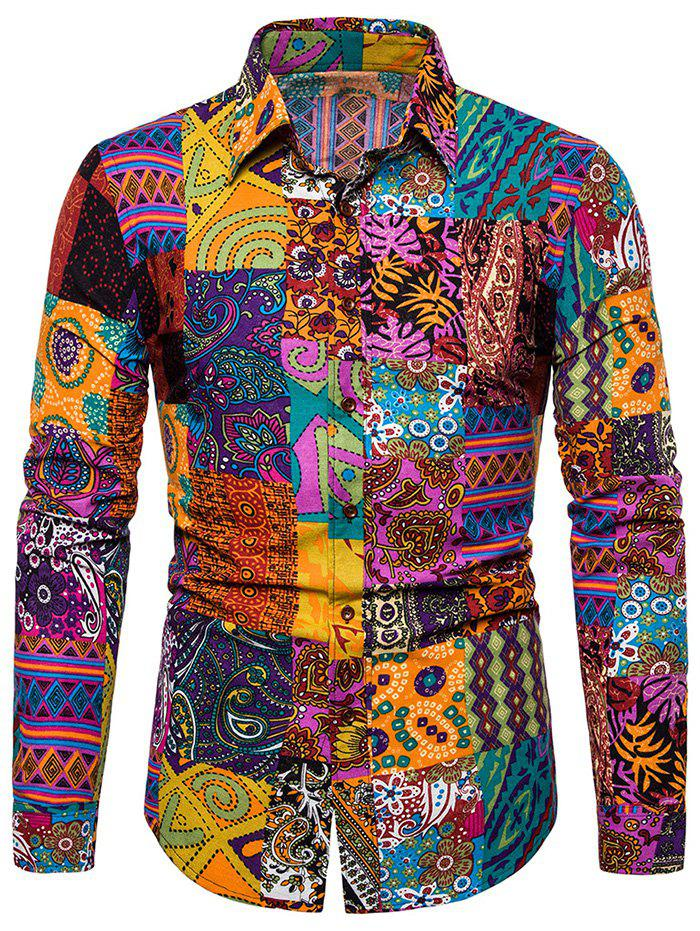 Ethnic Floral Print Long Sleeves Shirt - multicolor A M