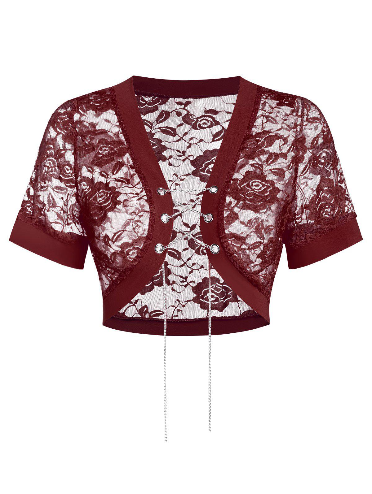 Sheer Lace Crop Solid Top - RED WINE 2XL