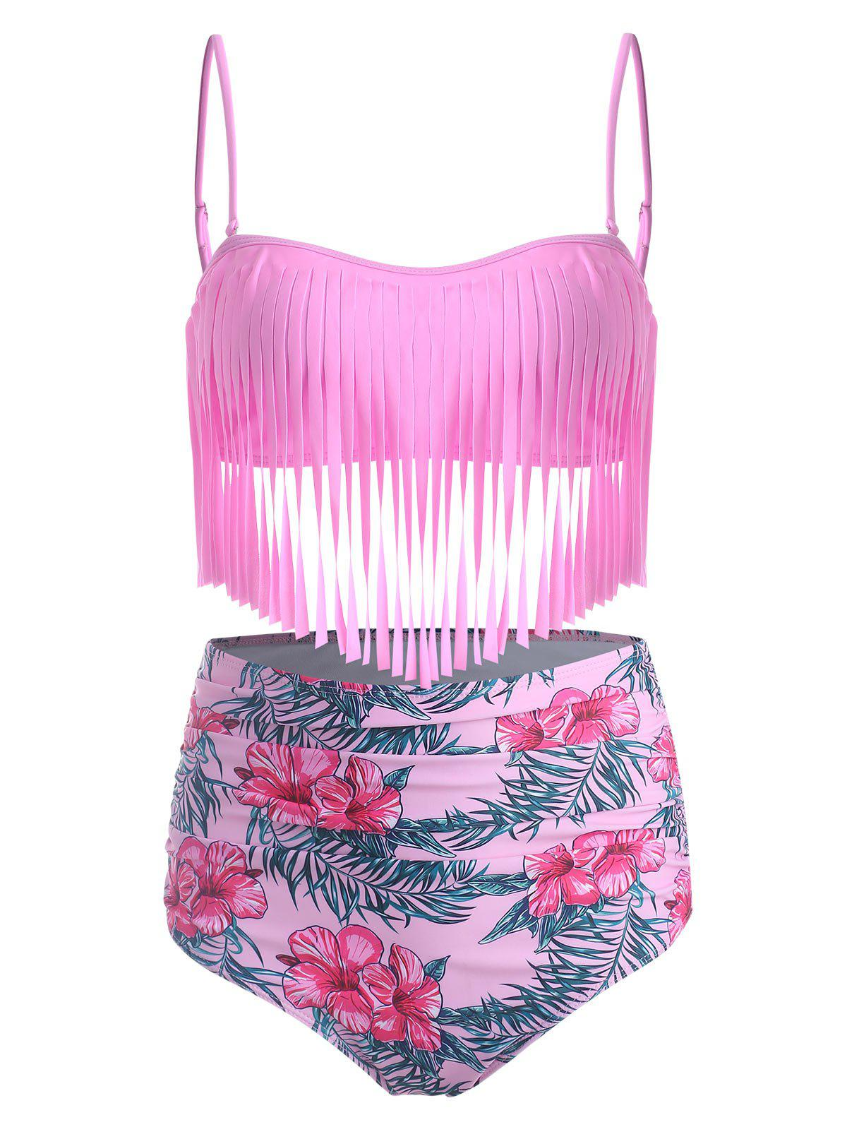 High Waisted Fringed Floral Bandeau Bikini Swimsuit - VIOLET RED 2XL