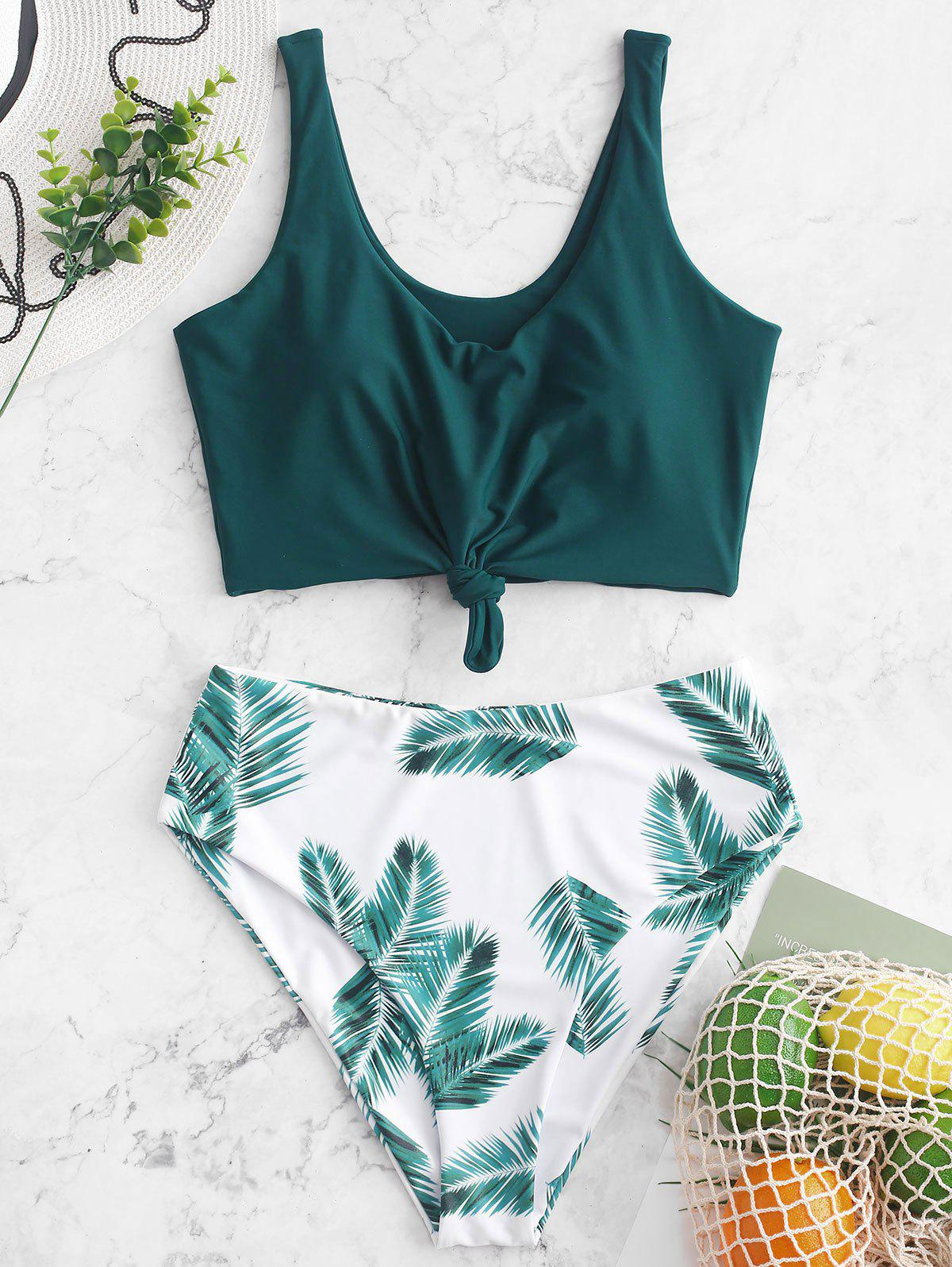 Leaf Print Knot High Waisted Tankini Swimsuit - PEACOCK BLUE XL