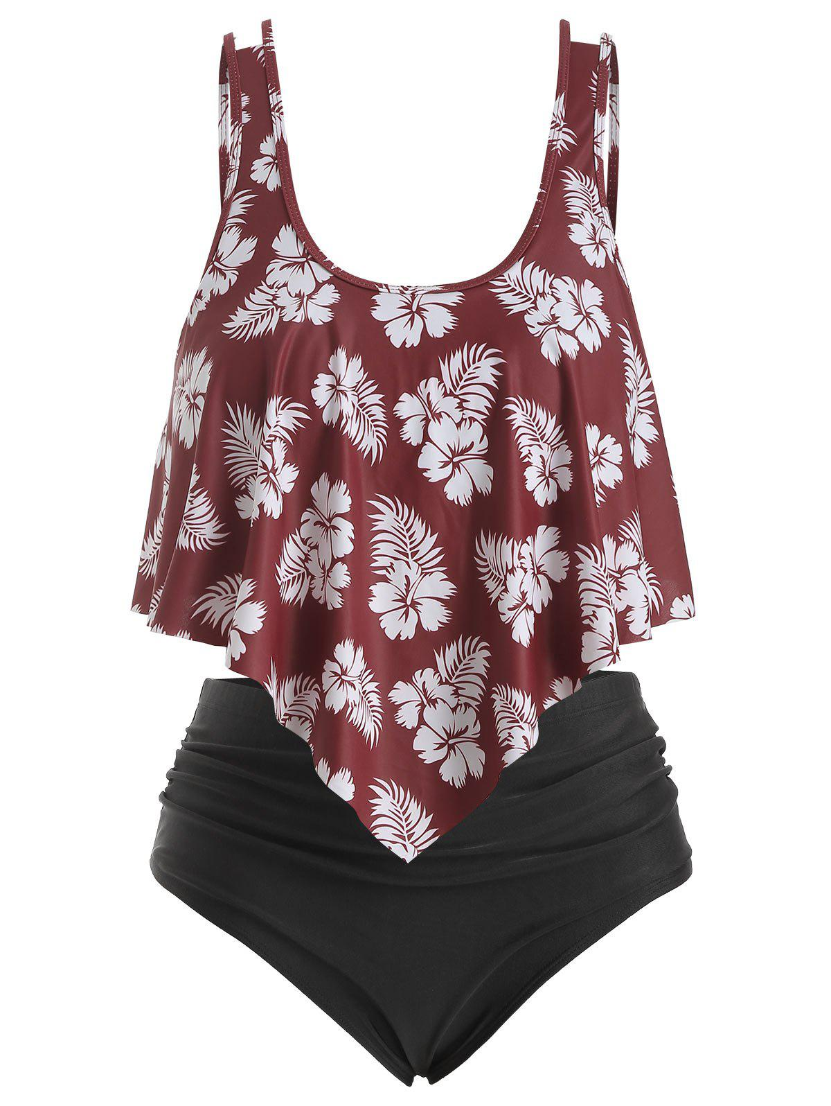 Overlay Flounces Floral Leaves Print Plus Size Tankini Swimsuit - RED WINE 4X