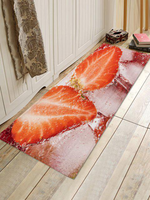 Strawberry Water 3D Print Floor Rug - RUBY RED W24 X L71 INCH