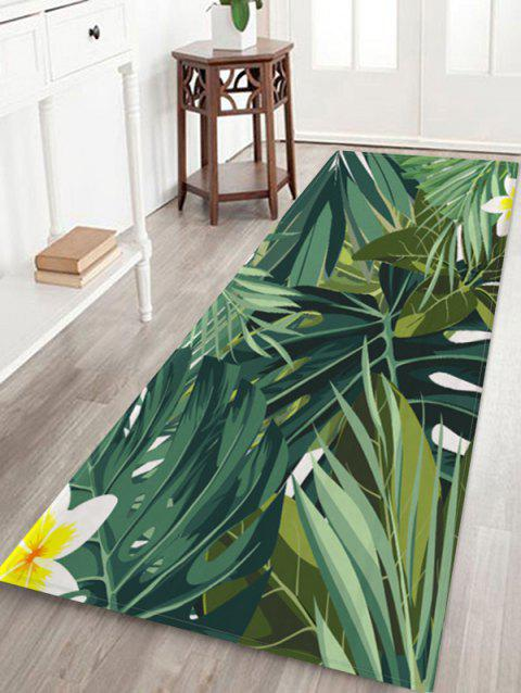 Tropical Leaves and Flowers Pattern Water Absorption Area Rug - multicolor A W24 X L71 INCH