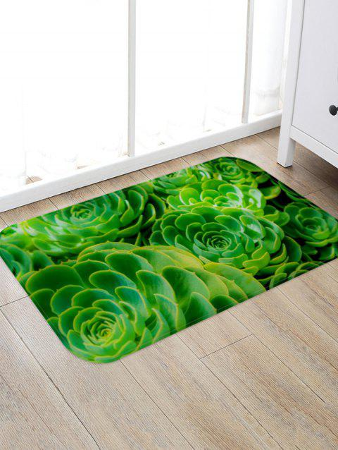 Succulent Plant Pattern Flannel Water Absorption Area Rug - multicolor A W20 X L31.5 INCH