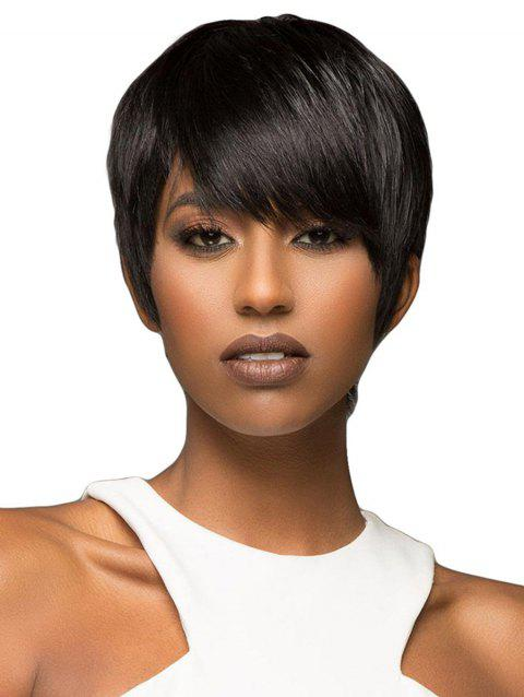 Side Bang Straight Short Synthetic Front Lace Wig - NATURAL BLACK