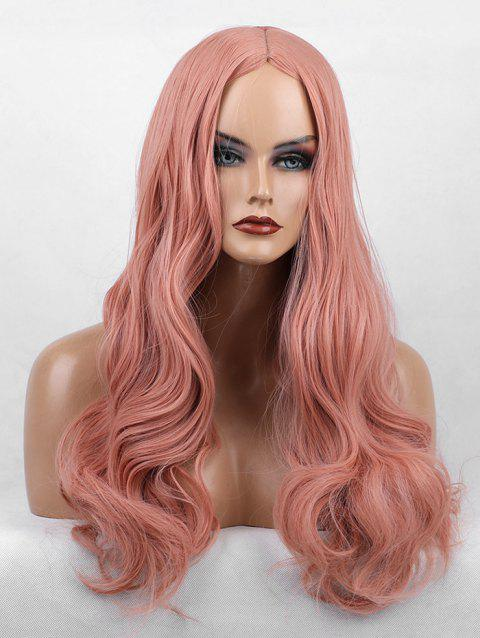 Cosplay Center Part Long Body Wave Solid Synthetic Wig - LIGHT PINK