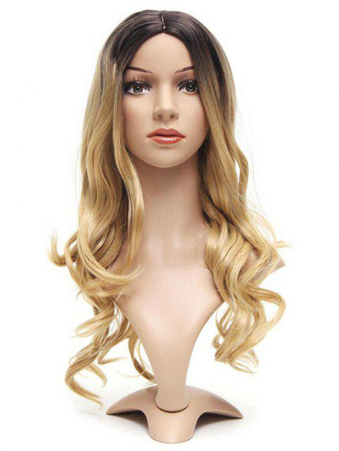 Ombre Center Part Long Body Wave Synthetic Wig - multicolor