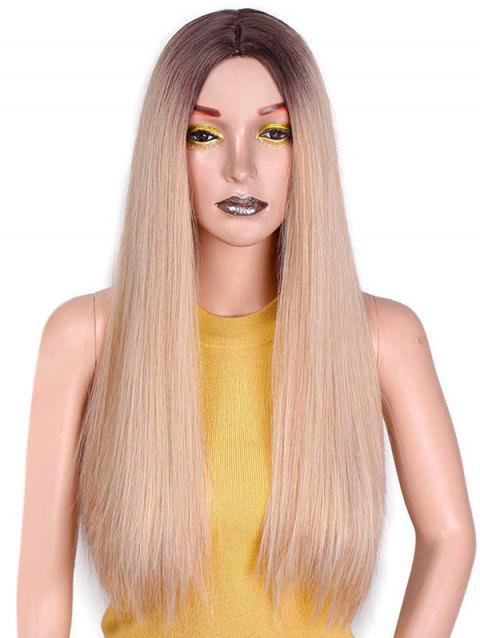 Ombre Long Straight Center Part Synthetic Wig - multicolor