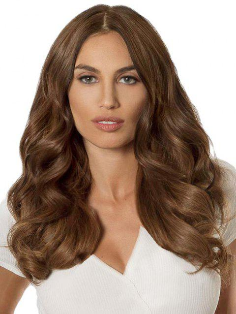 Center Part Long Body Wave Front Lace Synthetic Wig - BROWN