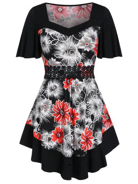 Plus Size Tunic Floral Print Applique T Shirt - BLACK 2X